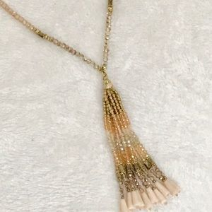 Nude Crystal Beaded Necklace